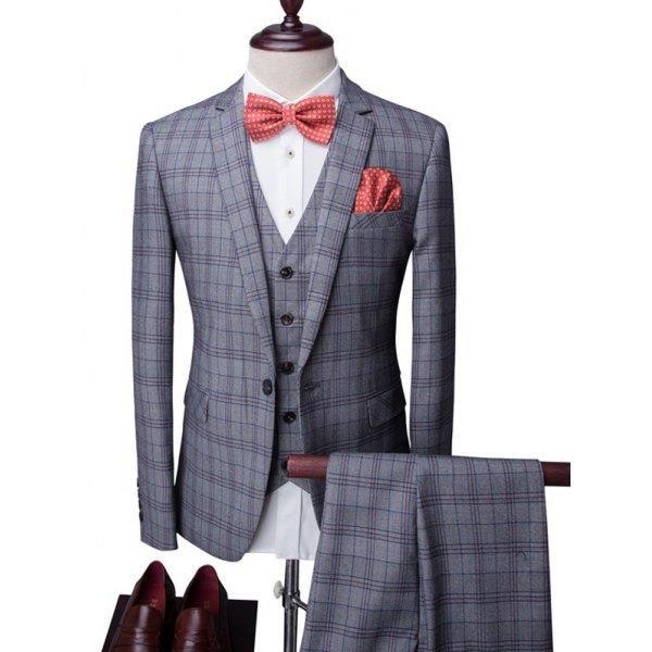 Pläd One-Button Lapel långärmad tredelad kostym (Blazer + Väst + byxor) För Män