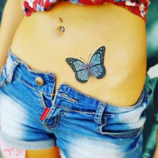 Belly Tattoo Butterfly Woman   #Tattoo, #Tattooed, #Tattoos