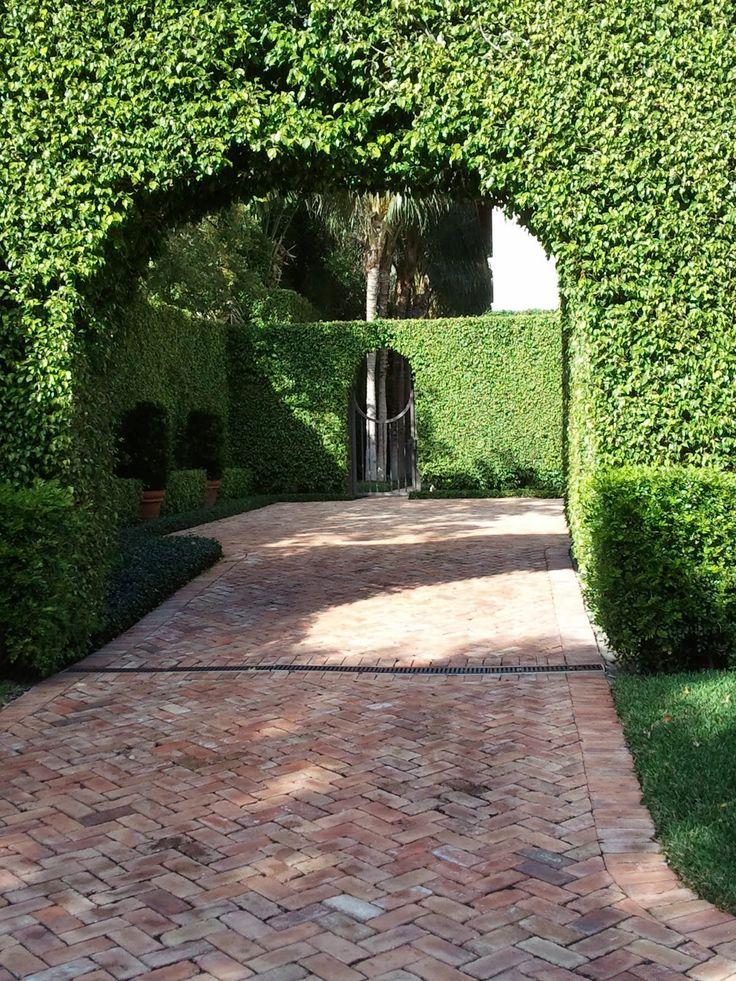 Good looking herringbone brick driveway, and wonderful hedge, looks like Palm Beach.