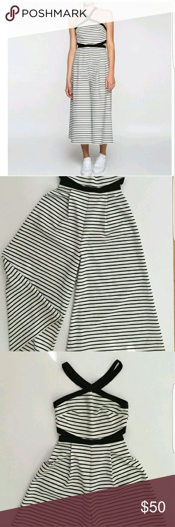 Fifth Label white and black stripe jumpsuit Fun.. flirty..comfortable never worn urban outfitters fifth label Other