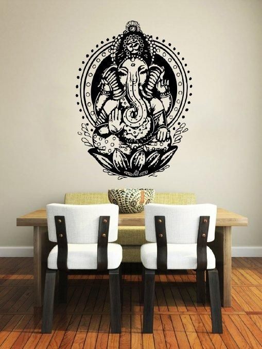 Elephant Wall Decal Vinyl Sticker Decals Ganesh Lord of Success Hindu Hand God Buddha India Yoga Ganesha Lotus Wall Stickers Home Decor Art Bedroom Design Interior Wall Decor Mural