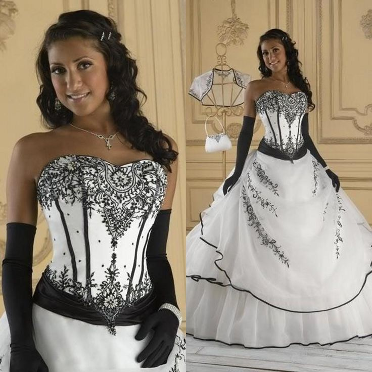 Vintage Black And White Wedding Dresses Ball Gown Soft