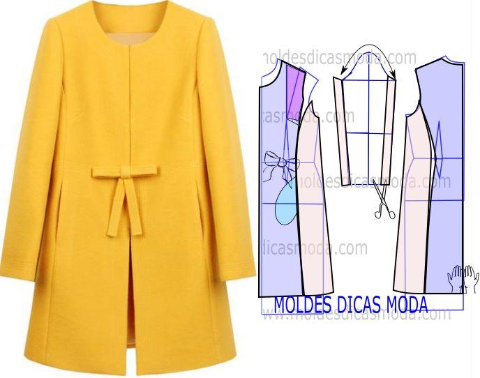 Apesar de belo e arrojado em termos de design o grau de dificuldade deste molde casaco amarelo não é muito elevado, imprima as bases disponíveis.