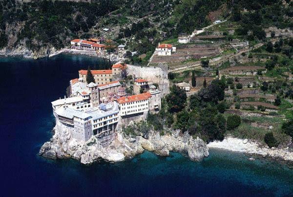 Η Ιερα Μονή Οσίου Γρηγορίου από ψηλά. - The Holy Monastery of Gregoriou from high above.