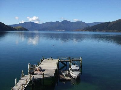 Still, clear waters and blue skies - some call it the Marlborough Sounds, but we call it home.