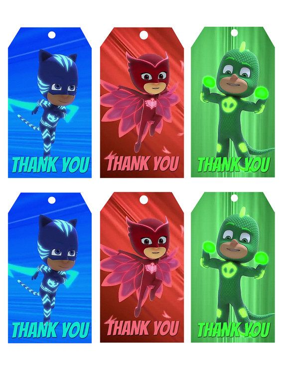 PJ MASKS Thank You Tags-Pj Masks Birthday by HappyKidsPrint