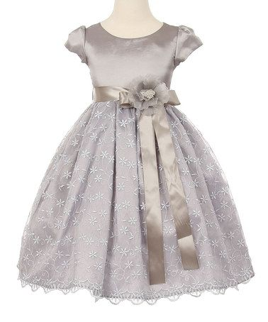 Love this Silver Floral Cap-Sleeve Dress - Toddler & Girls on #zulily! #zulilyfinds