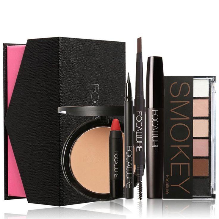 Gracefulvara Makeup Kit Gift Set 6Pcs for Beginners, Face Powder, Eyeshadow, Brows Pen, Red Lip Crayon, Eyeliner, Mascara >>> You can get additional details at the image link.