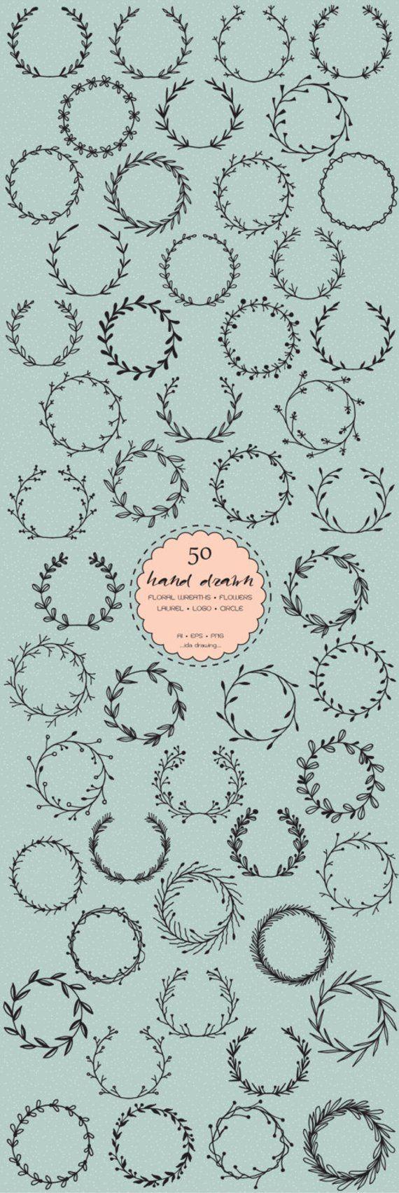 50 Hand Drawn Laurel Frame Logo Digital Clip Art – Wreaths – Floral Frames – Circle Floral – Laurels