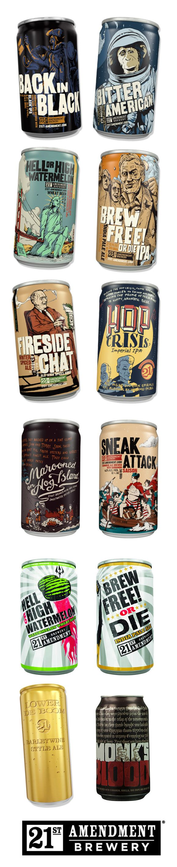 Great collection of San Francisco's 21st Amendment Brewery #beer can #packaging PD