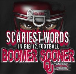 ou sooner pics | Oklahoma Sooners Football T-Shirts - Scariest Words Boomer Sooner