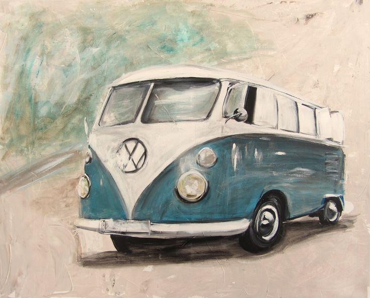 vw bulli t1 blau vw bus art kunst anja frackmann. Black Bedroom Furniture Sets. Home Design Ideas