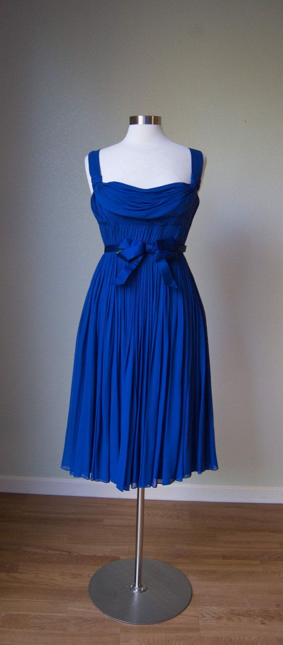 1950s Suzy Perette Azure Silk Chiffon Grecian by KittyGirlVintage