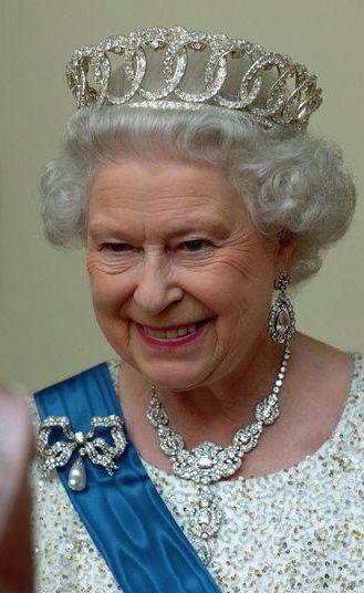 Queen Elizabeth II wearing the Vladimir of Russia Tiara (diamond setting), United Kingdom (ca. 1880; diamonds).