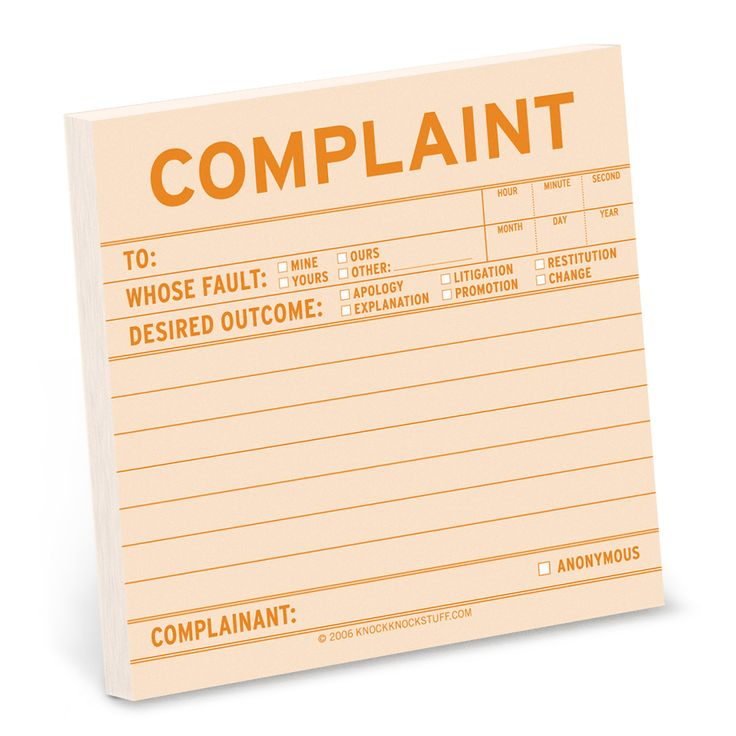 Knock Knock's Complaint Sticky Notes are funny sticky notes for the office. A fun office sticky note pad. Office supplies make cool gifts for coworkers.