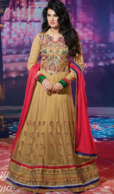 Beige Embroidered Georgette Net Anarkali Suit by Geeta Basra Price: Usa $141, British UK Pound £82, Euro104, Canada CA$151 , Indian Rs7614.