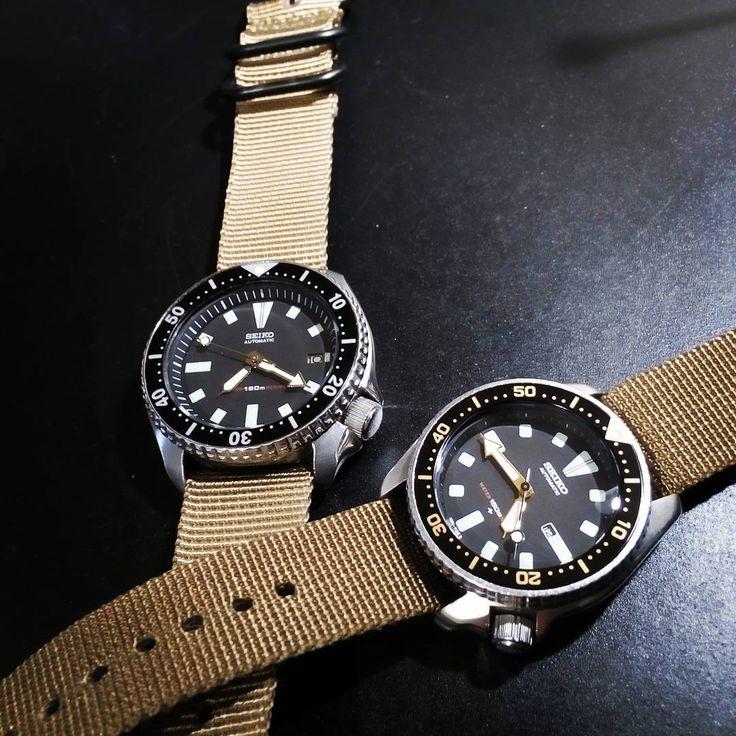david_dietsch #Seiko7002 #Seiko4205 #wristporn #military  My Old 7002 on Khaki NATO strap next to my fresh serviced and refreshed 4205.Khaki strap collection!
