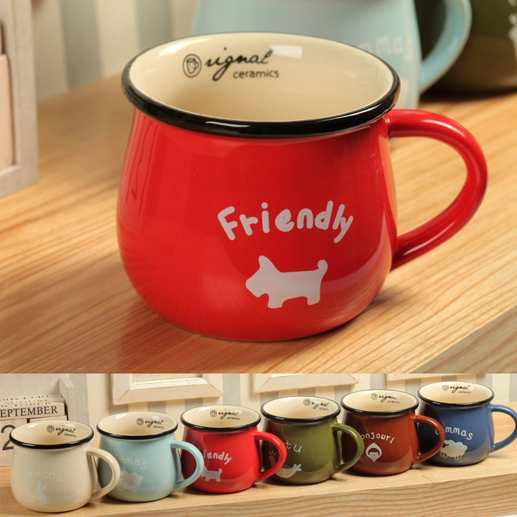 Candy color ceramic mug