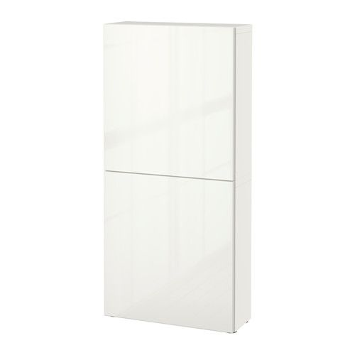 BESTÅ Wall cabinet with 2 doors white/Selsviken high-gloss/white 23 5/8x7 7/8x50 3/8