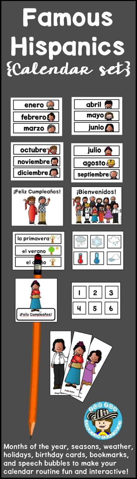 This calendar set has cards for months of the year, seasons, weather, some holidays, birthday cards, bookmarks, and speech bubbles to make your calendar routine fun and interactive.
