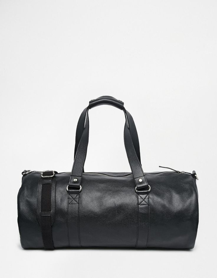ASOS+Leather+Barrel+Bag+In+Black