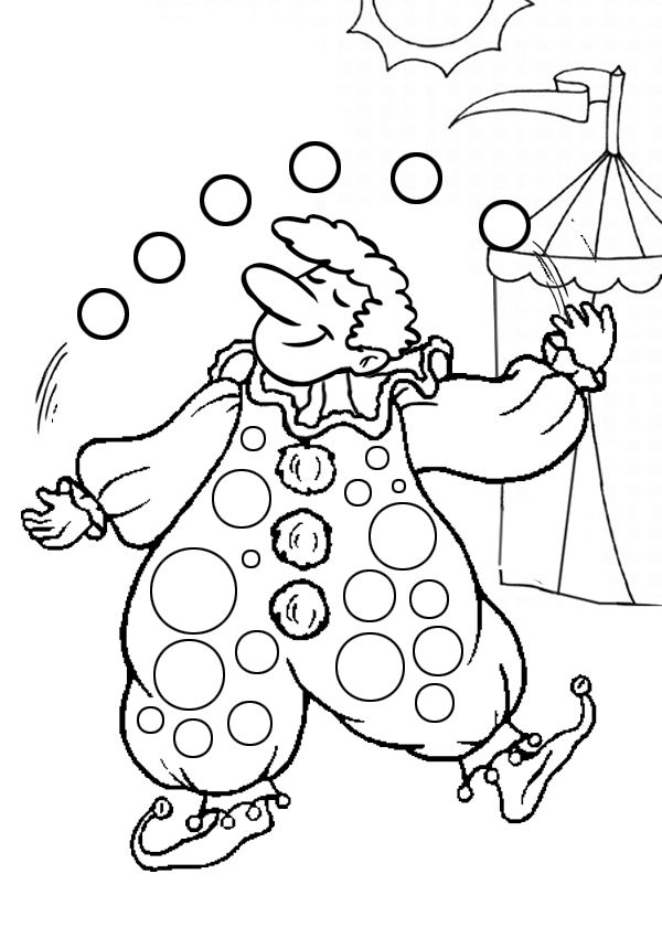 Free online printable kids colouring pages juggling for Printable circus coloring pages