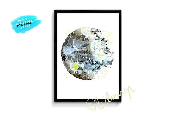 Death Star Watercolor Print Star Wars Poster Death Star Poster