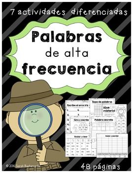 7 diferentes actividades de palabras de alta frecuencia/ palabras de uso frecuente. Includes 7 differentiated high frequency word work activities in Spanish to develop HFW reading fluency. Activities can be used in centers or in small groups. Activities Included:Gira y escribeQu misterioRodar y escribirRodar y leerEscribe el arco irisSopa de palabrasPalabra secreta