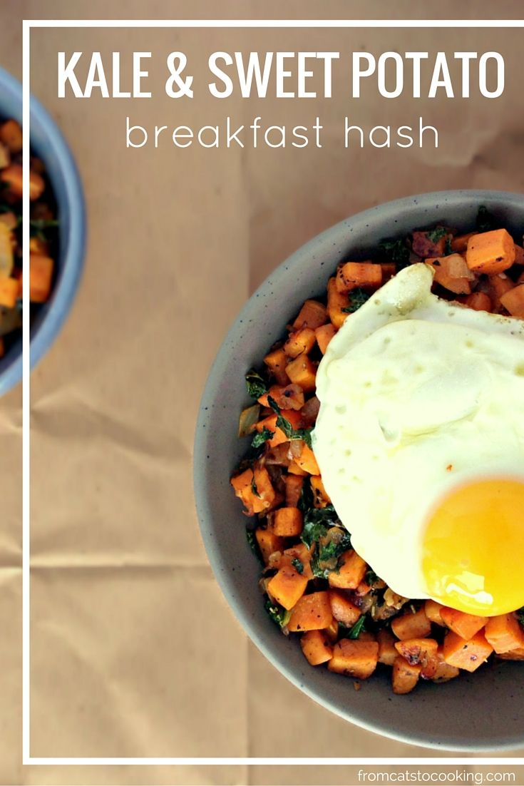 Kale and Sweet Potato Breakfast Hash Recipe - Gluten free, Grain free, Dairy free, Vegetarian, Paleo | fromcatstocooking.com