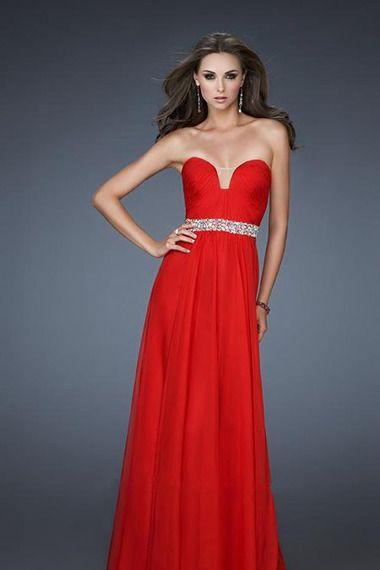 prom dresses a line floor length red sweetheart chiffon rhinestone