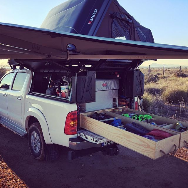 Expedition setup unpacked in full beauty for the first time! And its great :-) AluCab awning iKamper rooftop tent expedition 12V fridge and... tadaaaa... handmade drawers made from plywood :-) #digitalnomad #spain #overland #family #gurucamper #nomads #rooftoptent #skycamp #expedition #gear #outdoor