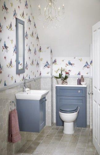 Blue cloakroom bathroom furniture from Utopia Bathrooms.