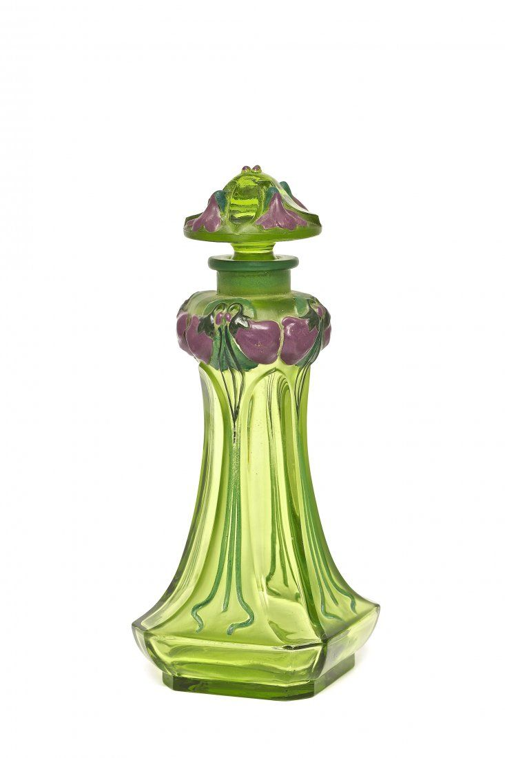"""1912 Gabilla Violette clear/frost Green Glass with enamelled detail Perfume Bottle - 5 1/2""""  Tall♥≻★≺♥"""