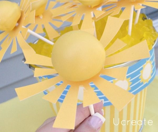 sunshine Birthday Cake Pops   The Sunshine Party is so bright and happy! All the yellow food on this ...