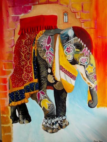 Indian Elephant Acrylic Painting. www.ciarafaganart.com