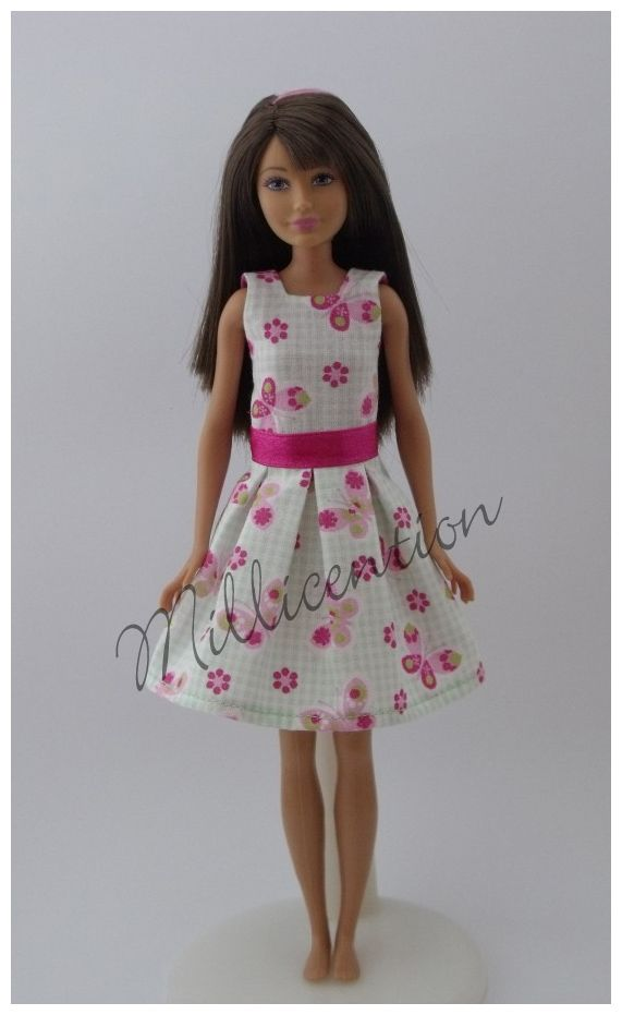 Mint-pink gingham Skipper doll dress