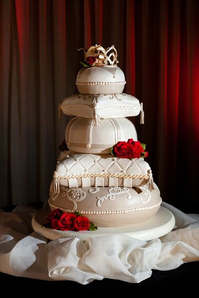 Fancy princess wed cake for princess and the pea themed wedding