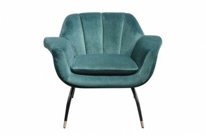 La chaise en velour bleu vert Andy
