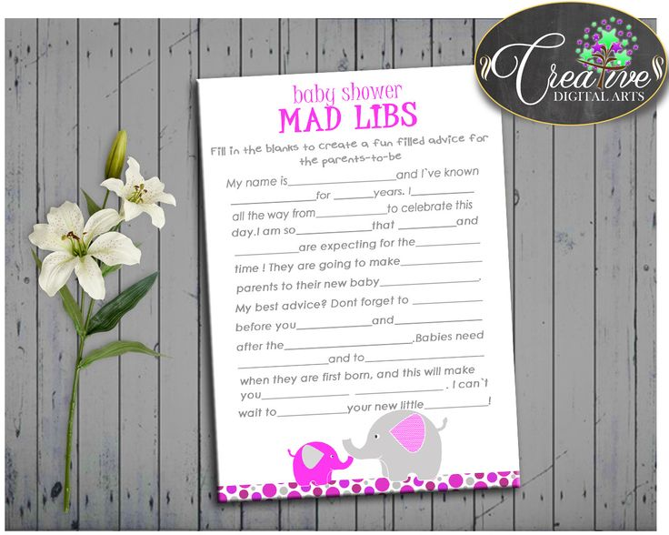 Magenta Elephant MAD LIBS Baby Shower Girl Game With Elephant Magenta Pink  Theme Printable, Digital Files Jpg Pdf, Instant Download   Ep001