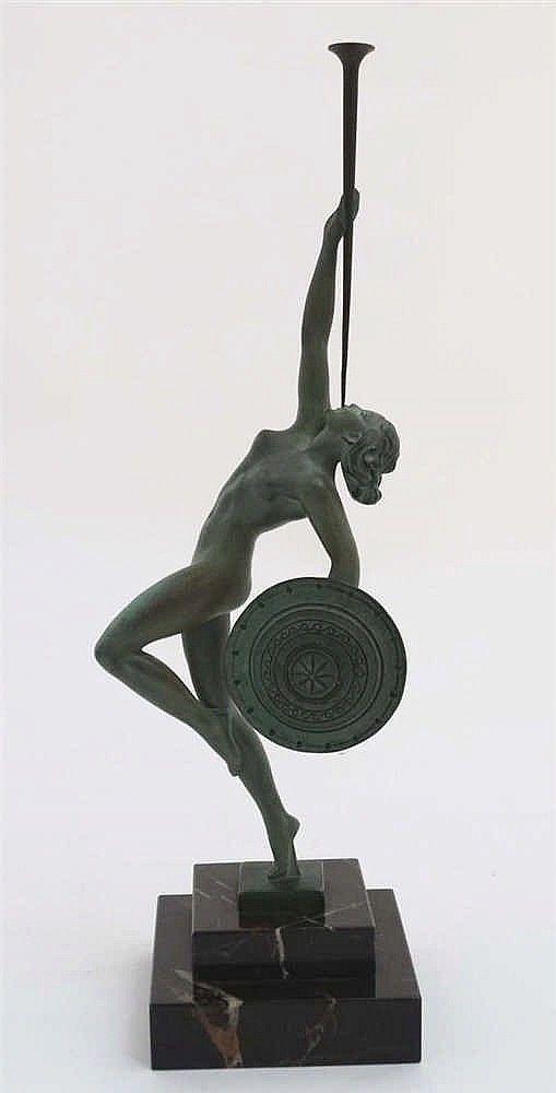 Ramonde Guerbe, An Art Deco patinated Bronze 'Fanfare Dancer' On step.