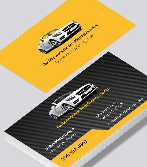 Automotive Mechanic Business Card Modern Business Cards Design Automotive Mechanic Card Mechanic