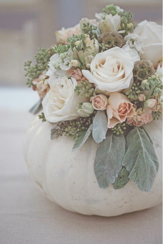 Pumpkin vase - love this arrangement