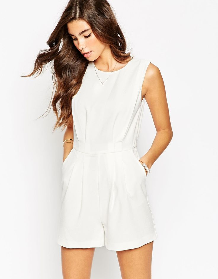 Image 2 of ASOS TALL Romper With Open Back and Pleat Detail