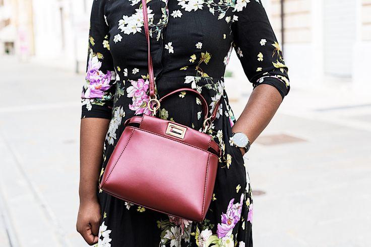 Fendi peekaboo | cross body bag | street style | black floral dress from zara | cluse watch
