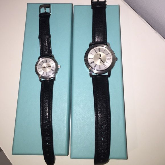 Easter Sale! Authentic his and hers automatic water resistant Tiffany watch set. Black leather bands. Woman band 14r men's 18r. With original packaging. Woman's watch worn 4xs men's watch never worn. Can be bought separately. Price going back up after the holiday. Each $850 separately. Tiffany & Co. Accessories Watches