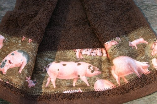 Pink Pig Kitchen Towels with Fabric Designed Tops ~ Brown background