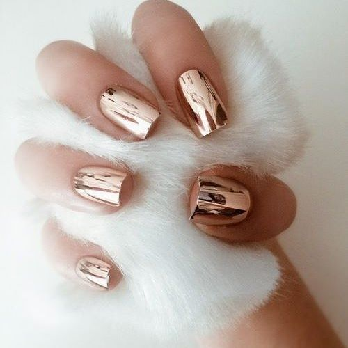 Rose gold nails Would you try the reflective nail trend?
