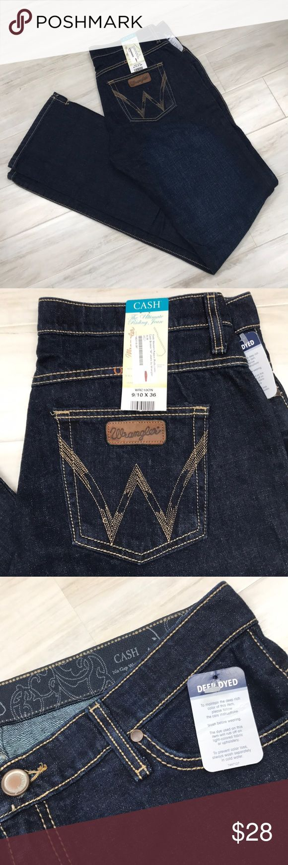 """NWT Wrangler Cash jeans Brand new Wrangler Cash Broken """"W"""" jeans. Deep dyed. Purchased from Rods online. Size 9/10 length 36"""". Wrangler Jeans Boot Cut"""