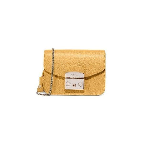 Furla Metropolis Mini Cross Body Bag (€255) ❤ liked on Polyvore featuring bags, handbags, shoulder bags, ambra, leather crossbody, brown leather handbags, mini crossbody, mini crossbody purse and brown leather shoulder bag
