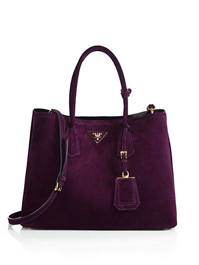 Such a rich shade of plum! Prada suede double bag